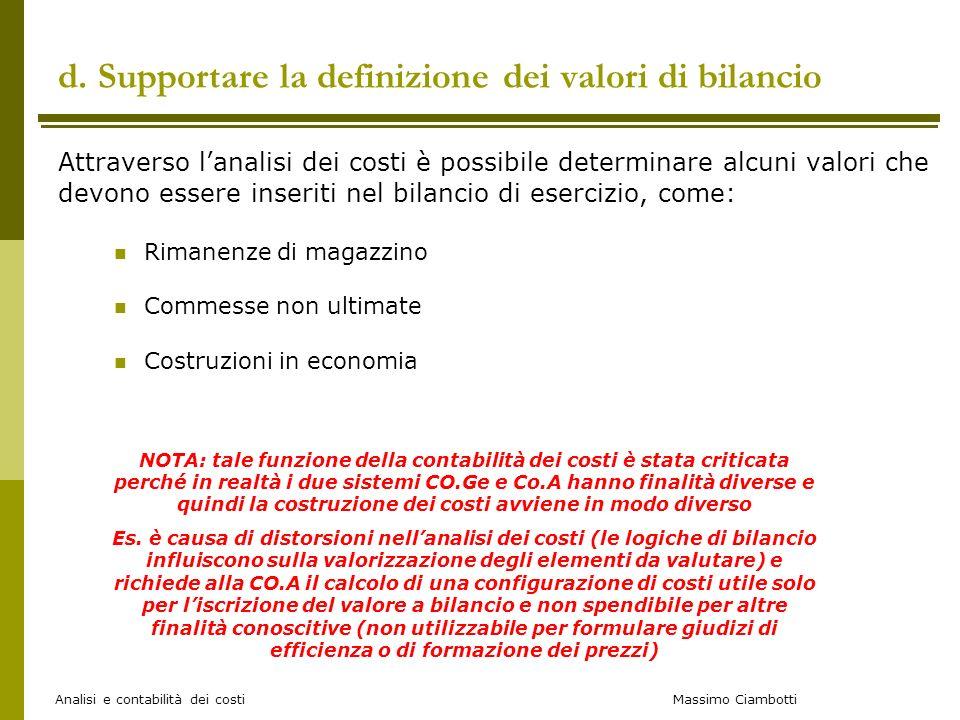 Massimo Ciambotti Analisi e contabilità dei costi d. Supportare la definizione dei valori di bilancio Attraverso lanalisi dei costi è possibile determ