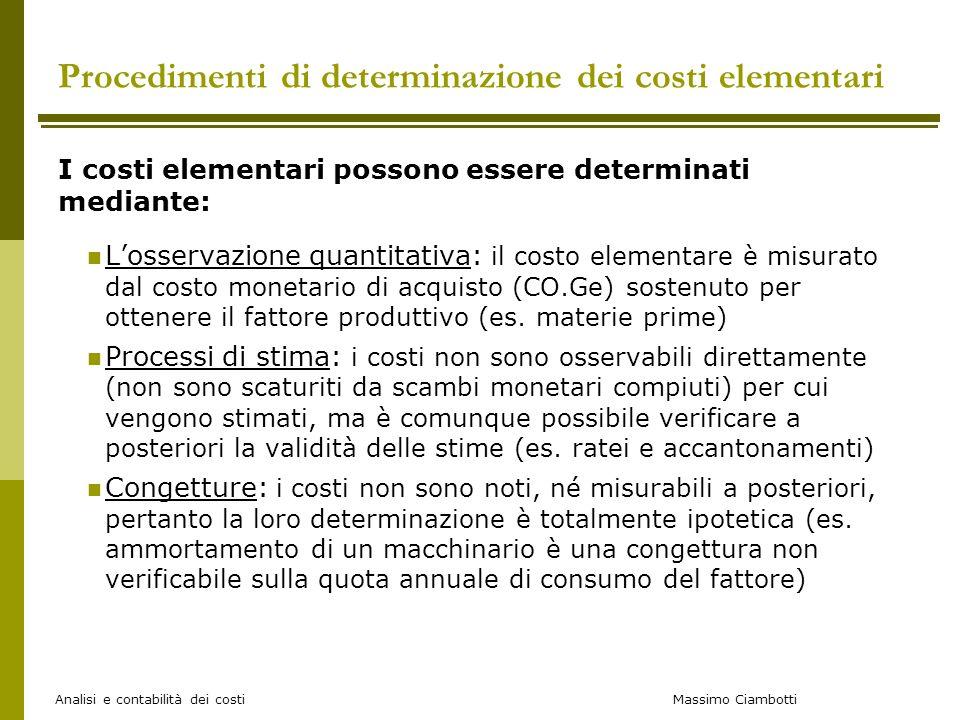 Massimo Ciambotti Analisi e contabilità dei costi Procedimenti di determinazione dei costi elementari I costi elementari possono essere determinati me