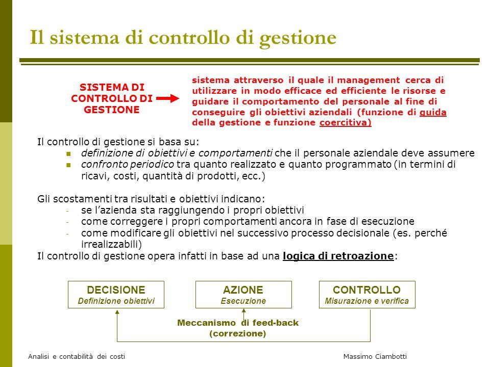 Massimo Ciambotti Analisi e contabilità dei costi Il sistema di controllo di gestione Il controllo di gestione si basa su: definizione di obiettivi e