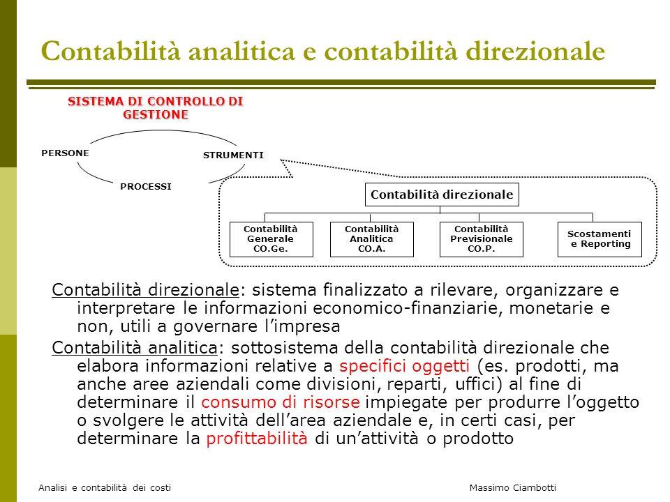 Massimo Ciambotti Analisi e contabilità dei costi Contabilità analitica e contabilità direzionale Contabilità direzionale: sistema finalizzato a rilev