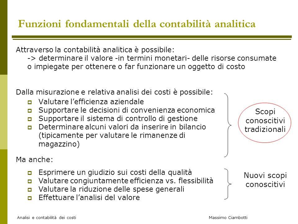 Massimo Ciambotti Analisi e contabilità dei costi Attraverso la contabilità analitica è possibile: -> determinare il valore -in termini monetari- dell
