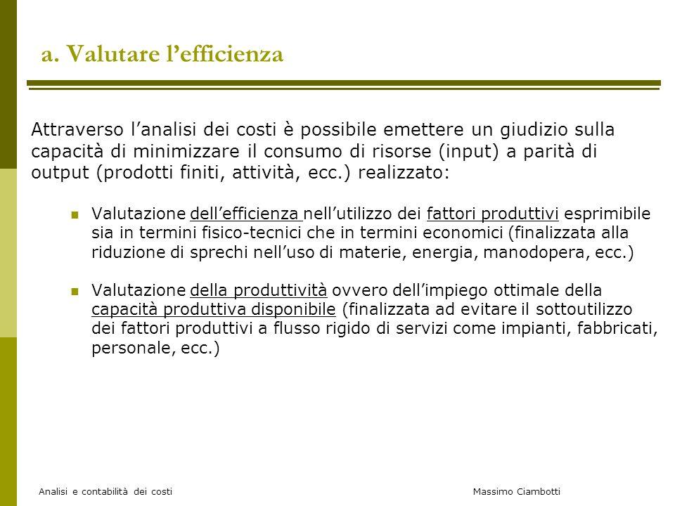 Massimo Ciambotti Analisi e contabilità dei costi a. Valutare lefficienza Attraverso lanalisi dei costi è possibile emettere un giudizio sulla capacit