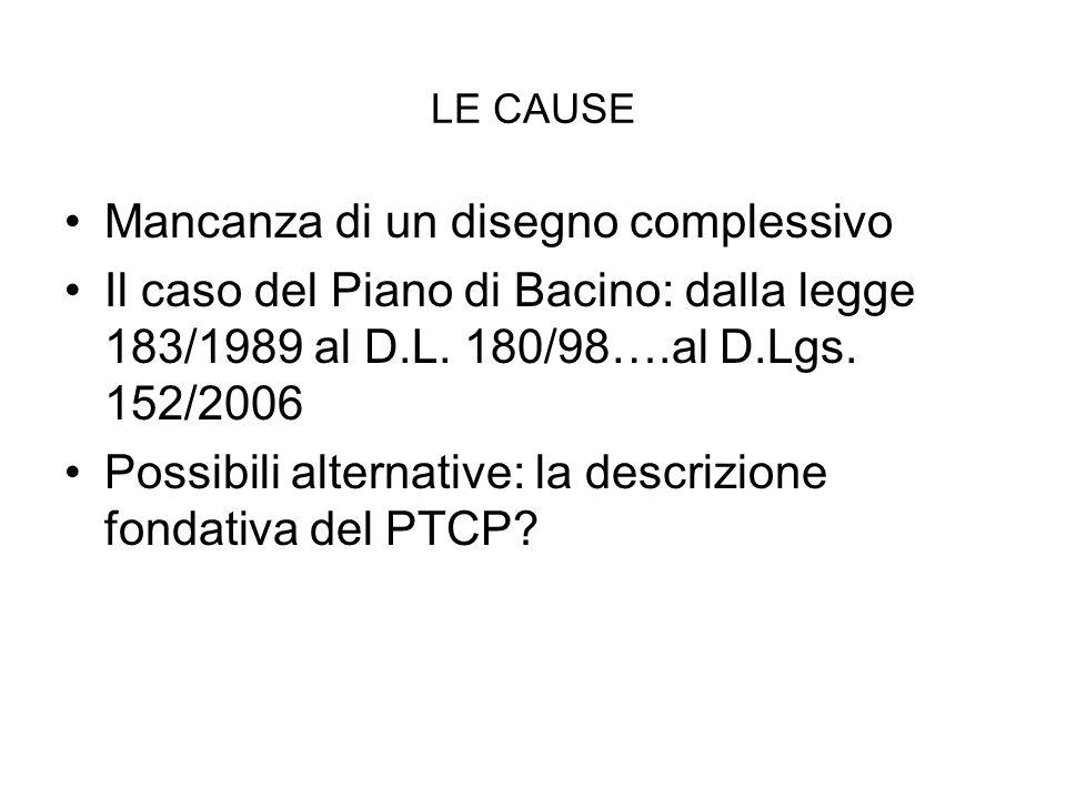 LE CAUSE Mancanza di un disegno complessivo Il caso del Piano di Bacino: dalla legge 183/1989 al D.L.