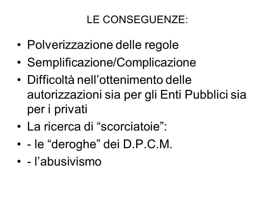 LE CONSEGUENZE: Polverizzazione delle regole Semplificazione/Complicazione Difficoltà nellottenimento delle autorizzazioni sia per gli Enti Pubblici sia per i privati La ricerca di scorciatoie: - le deroghe dei D.P.C.M.