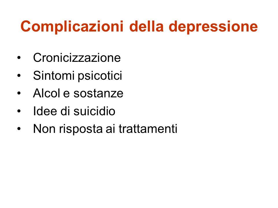 Complicazioni della depressione Cronicizzazione Sintomi psicotici Alcol e sostanze Idee di suicidio Non risposta ai trattamenti