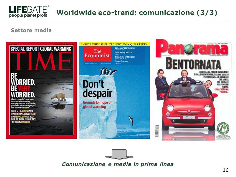 10 Settore media Comunicazione e media in prima linea Worldwide eco-trend: comunicazione (3/3)