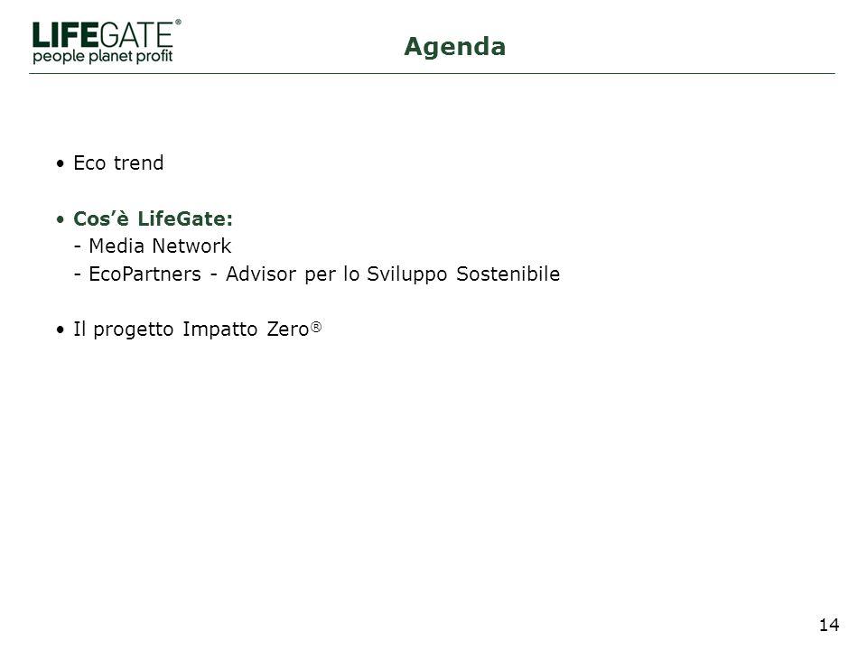14 Eco trend Cosè LifeGate: - Media Network - EcoPartners - Advisor per lo Sviluppo Sostenibile Il progetto Impatto Zero ® Agenda
