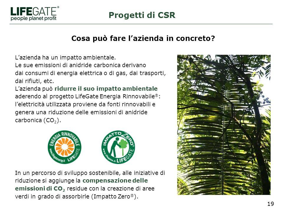 19 Progetti di CSR In un percorso di sviluppo sostenibile, alle iniziative di riduzione si aggiunge la compensazione delle emissioni di CO 2 residue con la creazione di aree verdi in grado di assorbirle (Impatto Zero ® ).