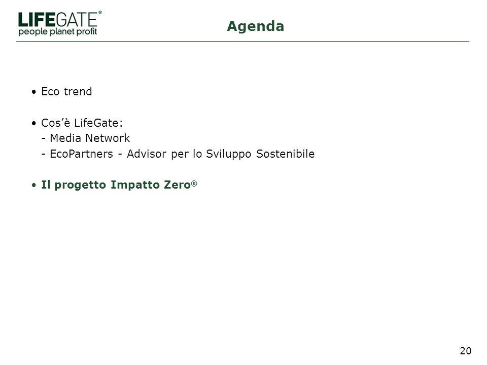 20 Eco trend Cosè LifeGate: - Media Network - EcoPartners - Advisor per lo Sviluppo Sostenibile Il progetto Impatto Zero ® Agenda