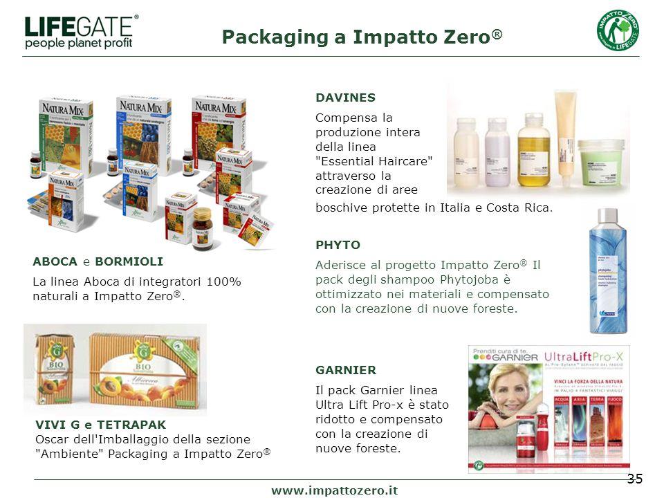 35 Packaging a Impatto Zero ® www.impattozero.it ABOCA e BORMIOLI La linea Aboca di integratori 100% naturali a Impatto Zero ®.