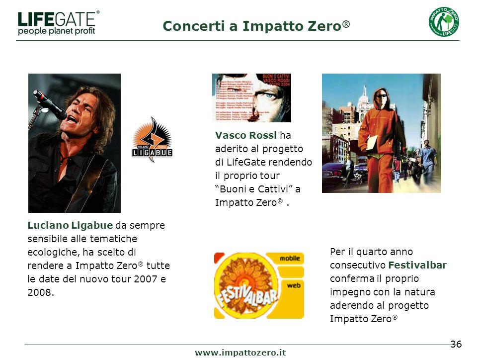 36 www.impattozero.it Luciano Ligabue da sempre sensibile alle tematiche ecologiche, ha scelto di rendere a Impatto Zero ® tutte le date del nuovo tour 2007 e 2008.
