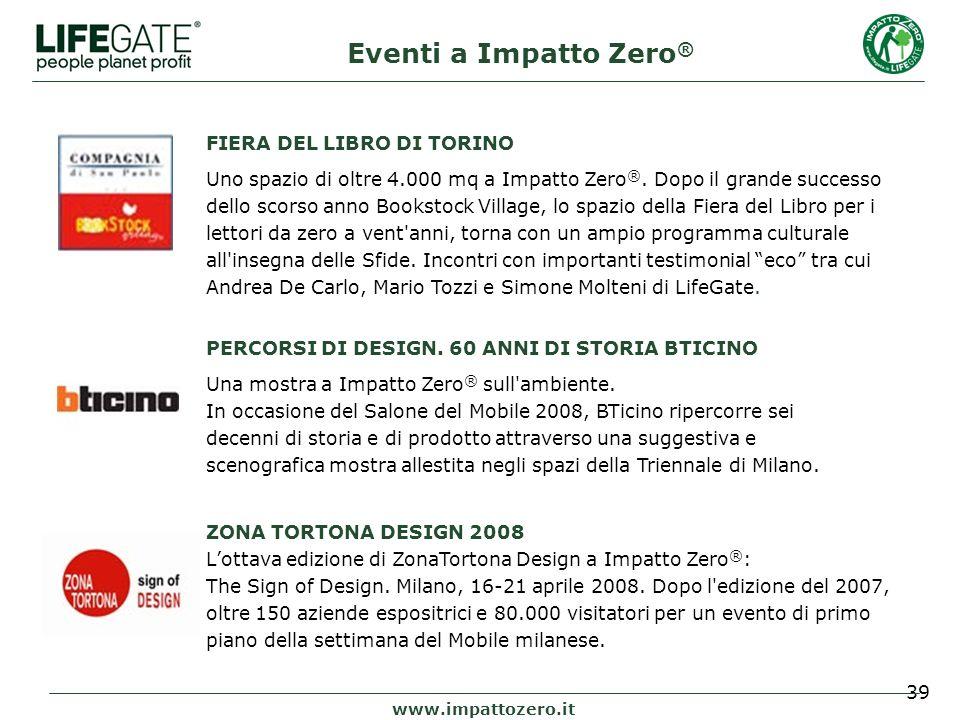 39 www.impattozero.it Eventi a Impatto Zero ® FIERA DEL LIBRO DI TORINO Uno spazio di oltre 4.000 mq a Impatto Zero ®.