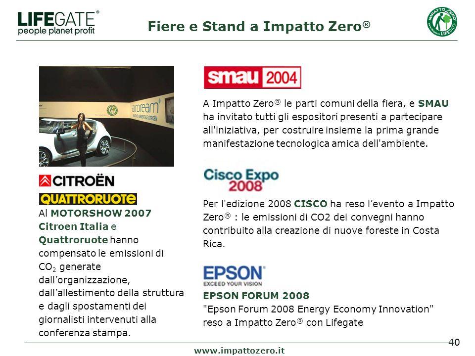 40 www.impattozero.it Al MOTORSHOW 2007 Citroen Italia e Quattroruote hanno compensato le emissioni di CO 2 generate dallorganizzazione, dallallestimento della struttura e dagli spostamenti dei giornalisti intervenuti alla conferenza stampa.