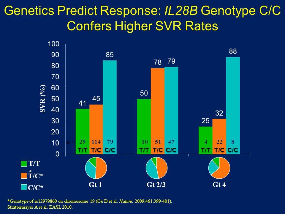 Genetics Predict Response: IL28B Genotype C/C Confers Higher SVR Rates SVR (%) Gt 1Gt 2/3Gt 4 T/TT/CC/CT/CT/CT/TC/CT/TC/C 29791047481145122 n = C/C* T