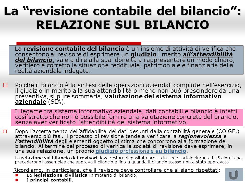 La revisione contabile del bilancio: RELAZIONE SUL BILANCIO La revisione contabile del bilancio è un insieme di attività di verifica che consentono al