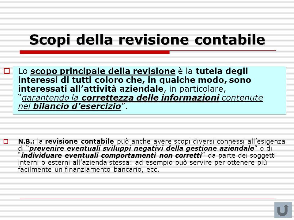 Scopi della revisione contabile correttezza delle informazioni Lo scopo principale della revisione è la tutela degli interessi di tutti coloro che, in