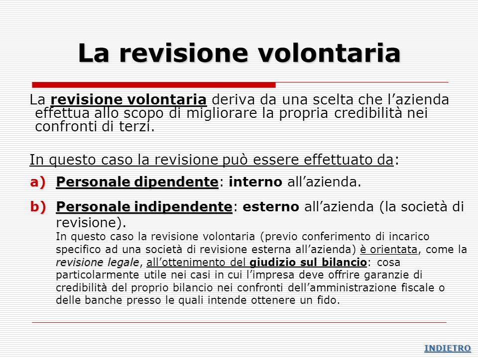 La revisione volontaria La revisione volontaria deriva da una scelta che lazienda effettua allo scopo di migliorare la propria credibilità nei confron