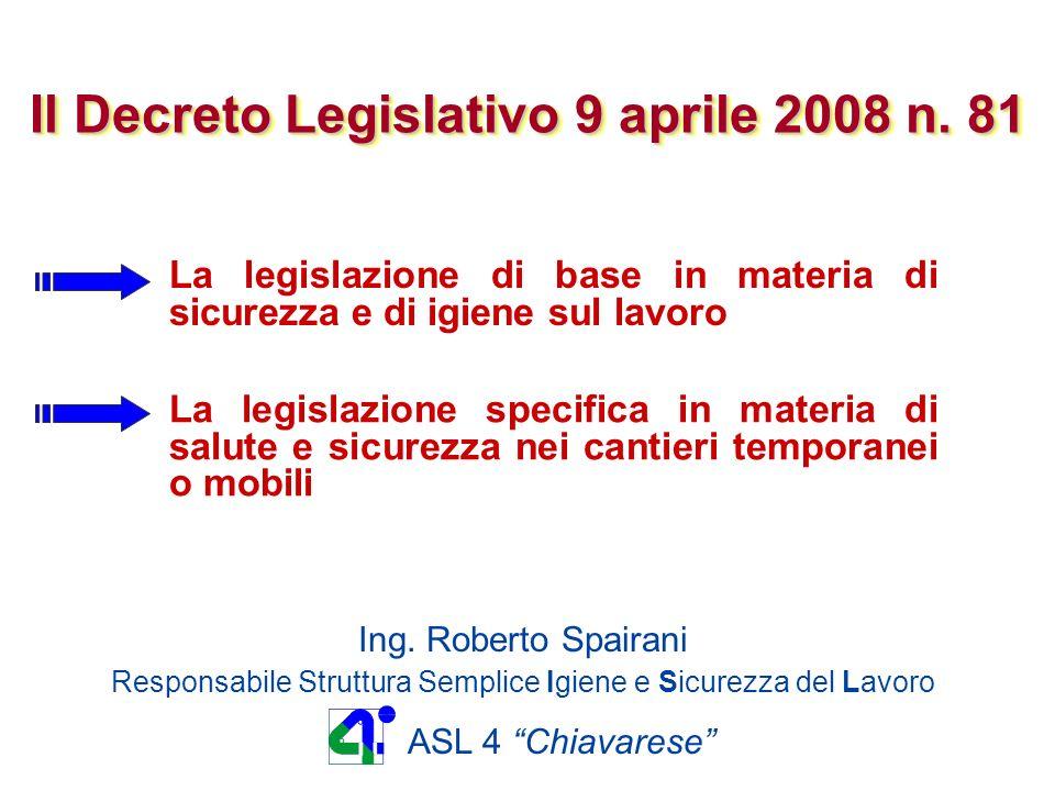 D.Lgs.9 aprile 2008 n. 81 COORDINATORE PER LA PROGETTAZIONE art.