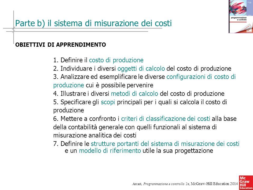 12 Arcari, Programmazione e controllo 2e, McGraw-Hill Education 2014 Parte b) il sistema di misurazione dei costi OBIETTIVI DI APPRENDIMENTO 1. Defini