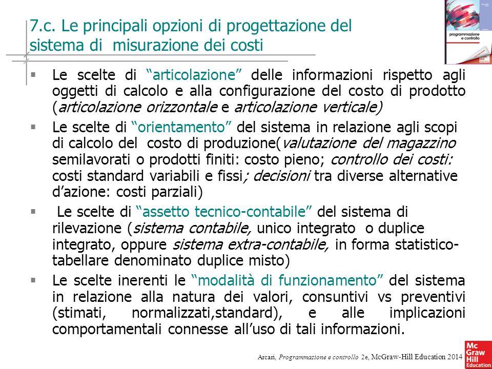 22 Arcari, Programmazione e controllo 2e, McGraw-Hill Education 2014 7.c. Le principali opzioni di progettazione del sistema di misurazione dei costi