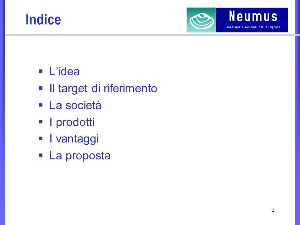 2 Indice Lidea Il target di riferimento La società I prodotti I vantaggi La proposta