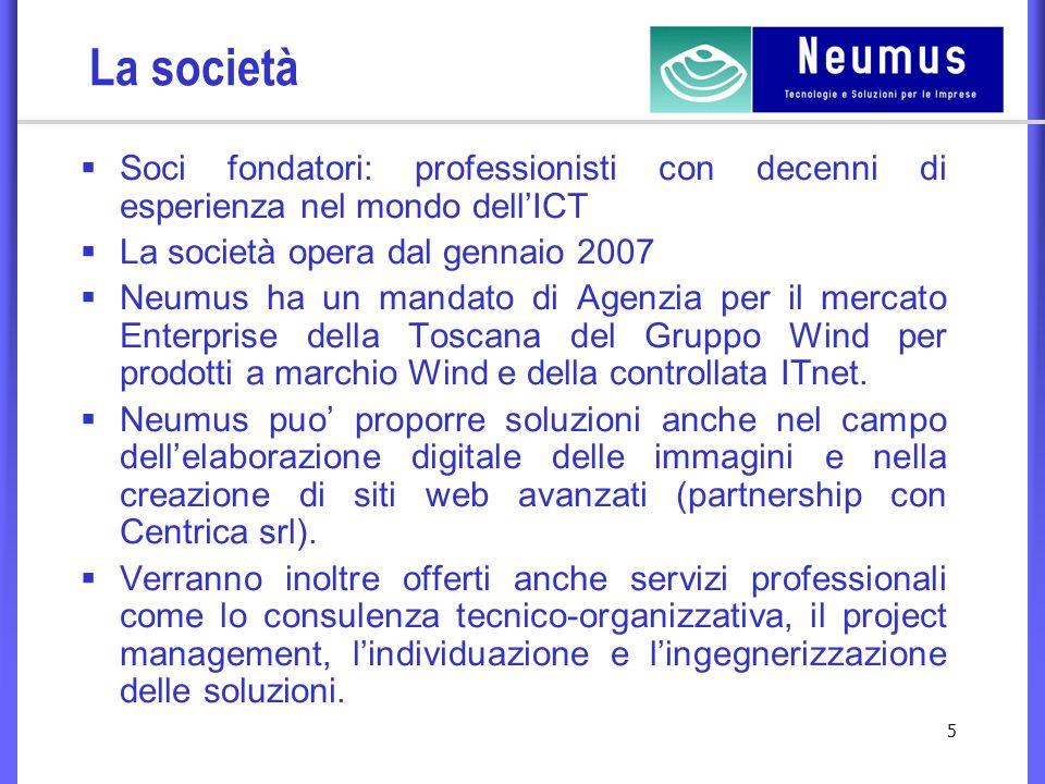 5 La società Soci fondatori: professionisti con decenni di esperienza nel mondo dellICT La società opera dal gennaio 2007 Neumus ha un mandato di Agenzia per il mercato Enterprise della Toscana del Gruppo Wind per prodotti a marchio Wind e della controllata ITnet.
