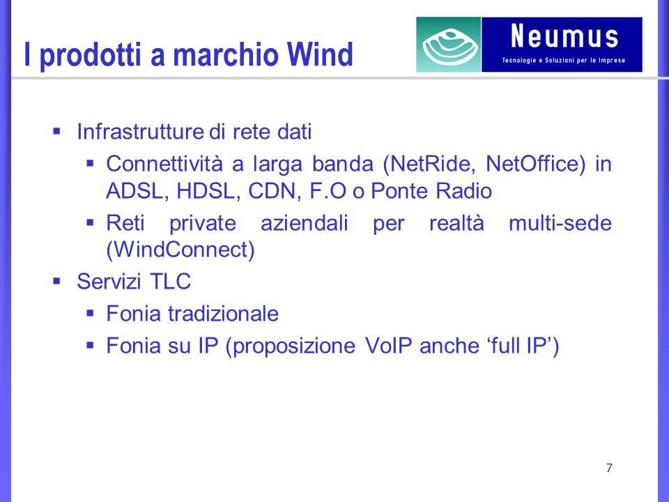 7 I prodotti a marchio Wind Infrastrutture di rete dati Connettività a larga banda (NetRide, NetOffice) in ADSL, HDSL, CDN, F.O o Ponte Radio Reti private aziendali per realtà multi-sede (WindConnect) Servizi TLC Fonia tradizionale Fonia su IP (proposizione VoIP anche full IP)