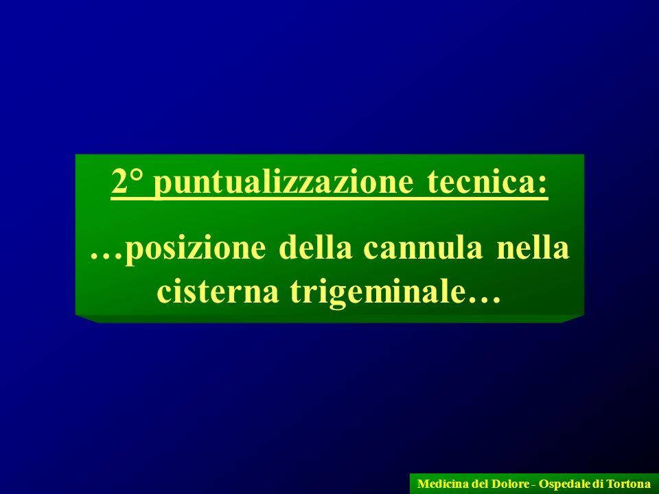 14 Medicina del Dolore - Ospedale di Tortona 2° puntualizzazione tecnica: …posizione della cannula nella cisterna trigeminale…