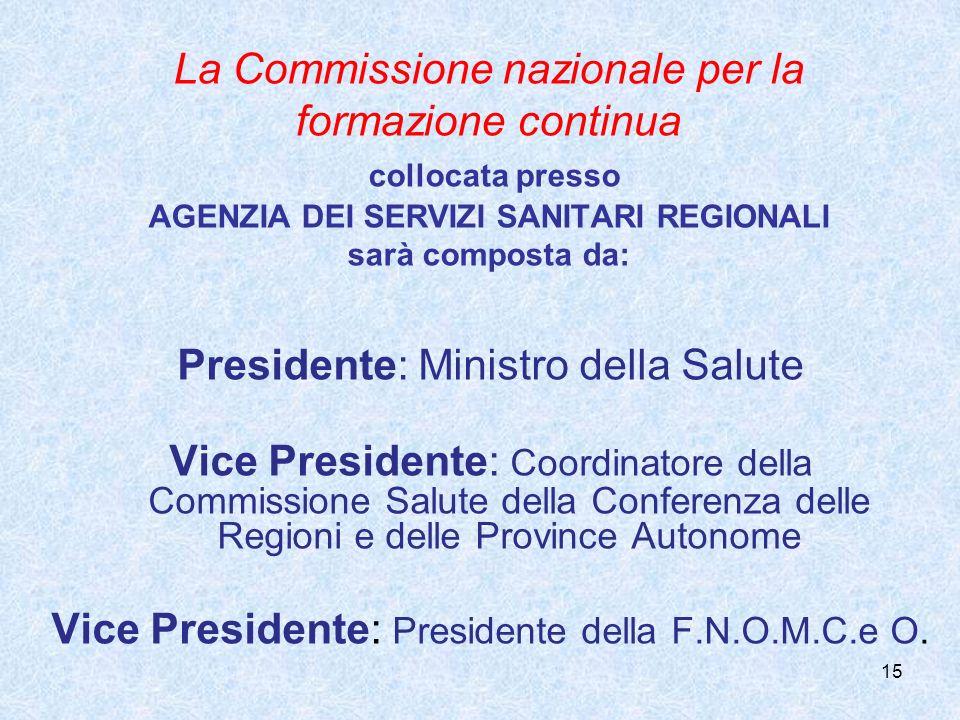 15 La Commissione nazionale per la formazione continua collocata presso AGENZIA DEI SERVIZI SANITARI REGIONALI sarà composta da: Presidente: Ministro