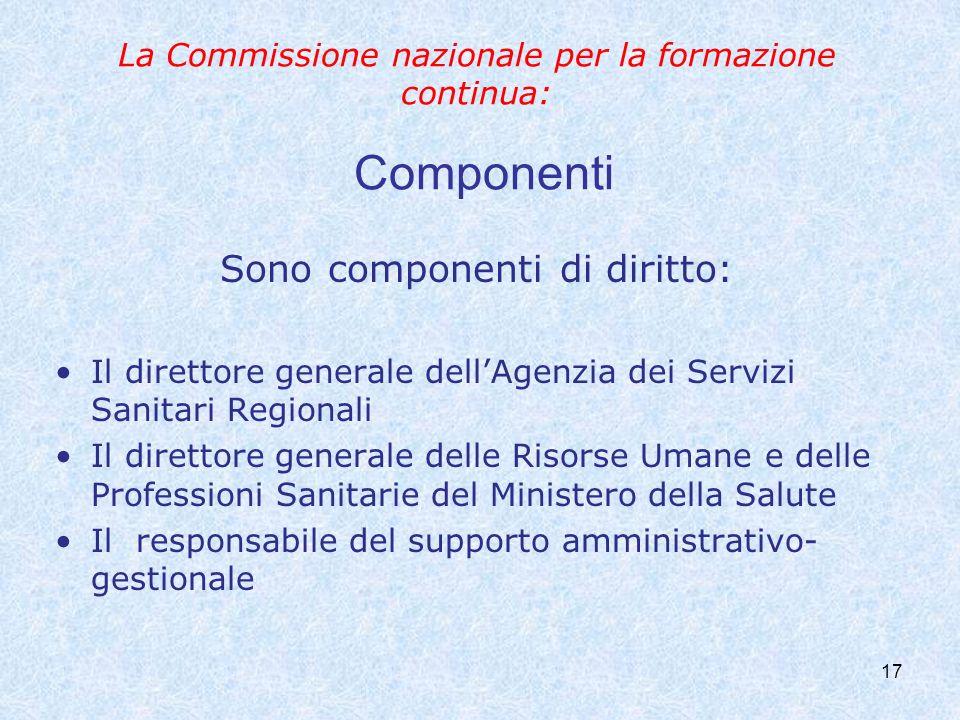 17 La Commissione nazionale per la formazione continua: Componenti Sono componenti di diritto: Il direttore generale dellAgenzia dei Servizi Sanitari