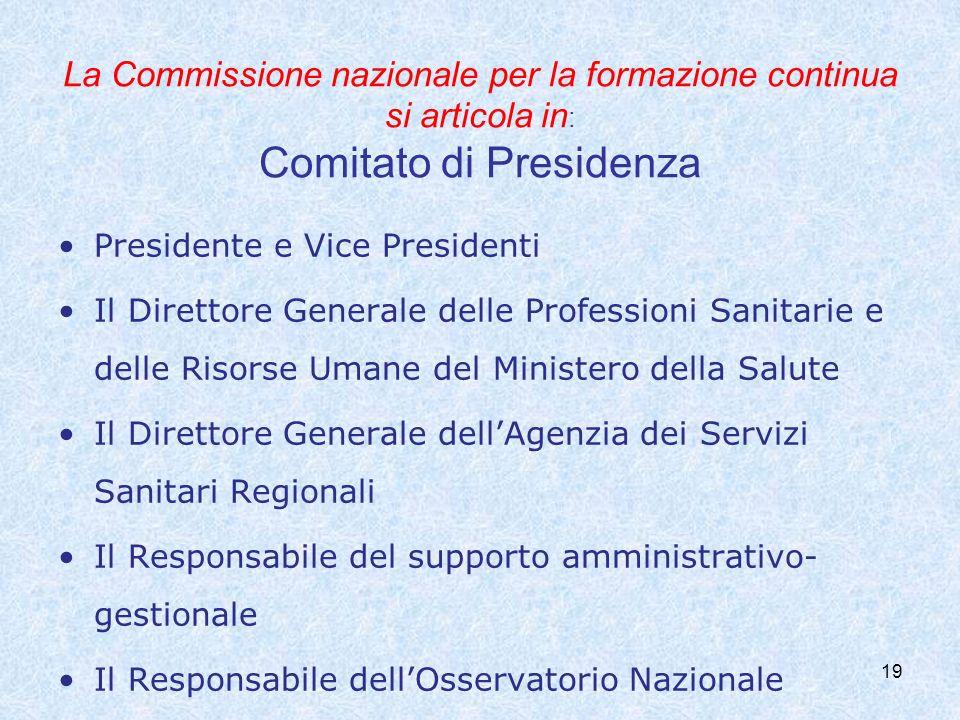 19 La Commissione nazionale per la formazione continua si articola in : Comitato di Presidenza Presidente e Vice Presidenti Il Direttore Generale dell