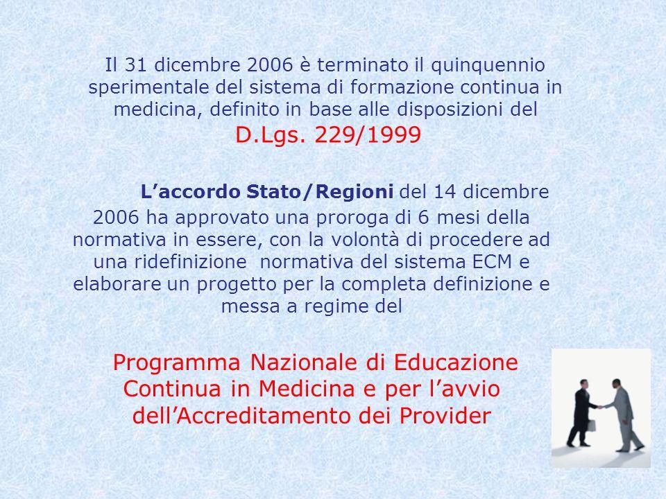 Il 31 dicembre 2006 è terminato il quinquennio sperimentale del sistema di formazione continua in medicina, definito in base alle disposizioni del D.Lgs.