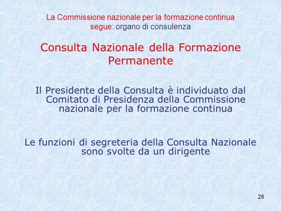 26 La Commissione nazionale per la formazione continua segue: organo di consulenza Consulta Nazionale della Formazione Permanente Il Presidente della