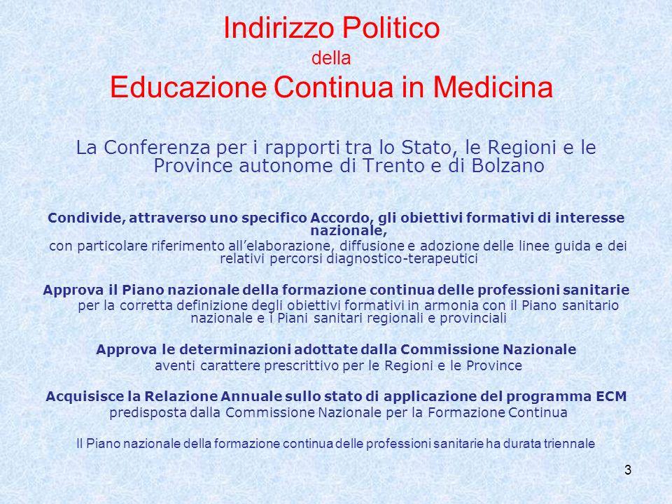 3 Indirizzo Politico della Educazione Continua in Medicina La Conferenza per i rapporti tra lo Stato, le Regioni e le Province autonome di Trento e di