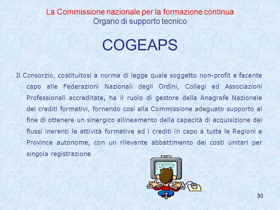 30 La Commissione nazionale per la formazione continua Organo di supporto tecnico COGEAPS Il Consorzio, costituitosi a norma di legge quale soggetto n