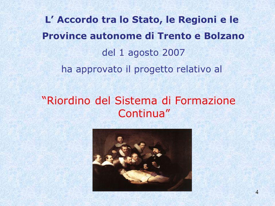 L Accordo tra lo Stato, le Regioni e le Province autonome di Trento e Bolzano del 1 agosto 2007 ha approvato il progetto relativo al Riordino del Sist