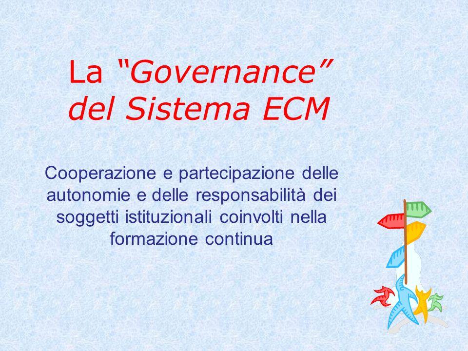 La Governance del Sistema ECM Cooperazione e partecipazione delle autonomie e delle responsabilità dei soggetti istituzionali coinvolti nella formazione continua