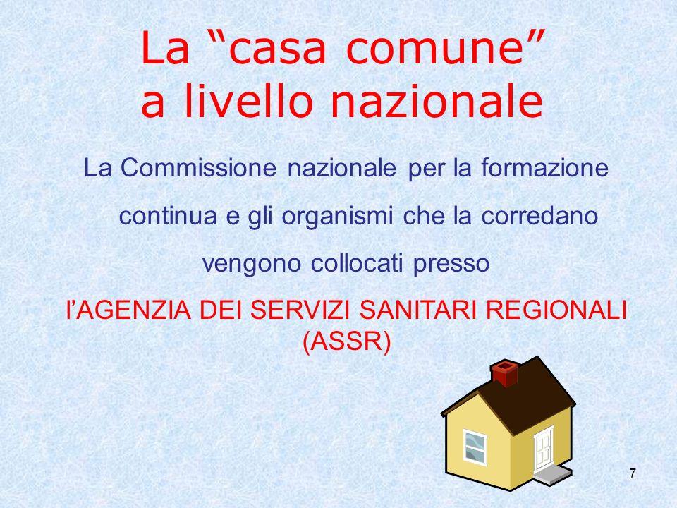 7 La casa comune a livello nazionale La Commissione nazionale per la formazione continua e gli organismi che la corredano vengono collocati presso lAGENZIA DEI SERVIZI SANITARI REGIONALI (ASSR)