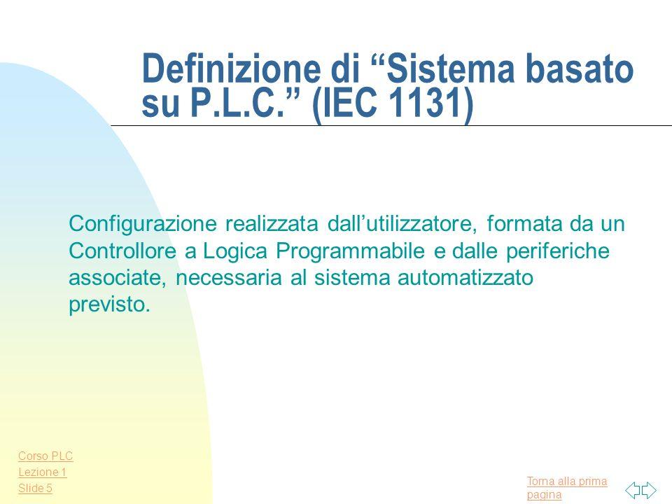 Torna alla prima pagina Corso PLC Lezione 1 Slide 4 Definizione di P.L.C. (IEC 1131) Sistema elettronico a funzionamento digitale, destinato alluso in