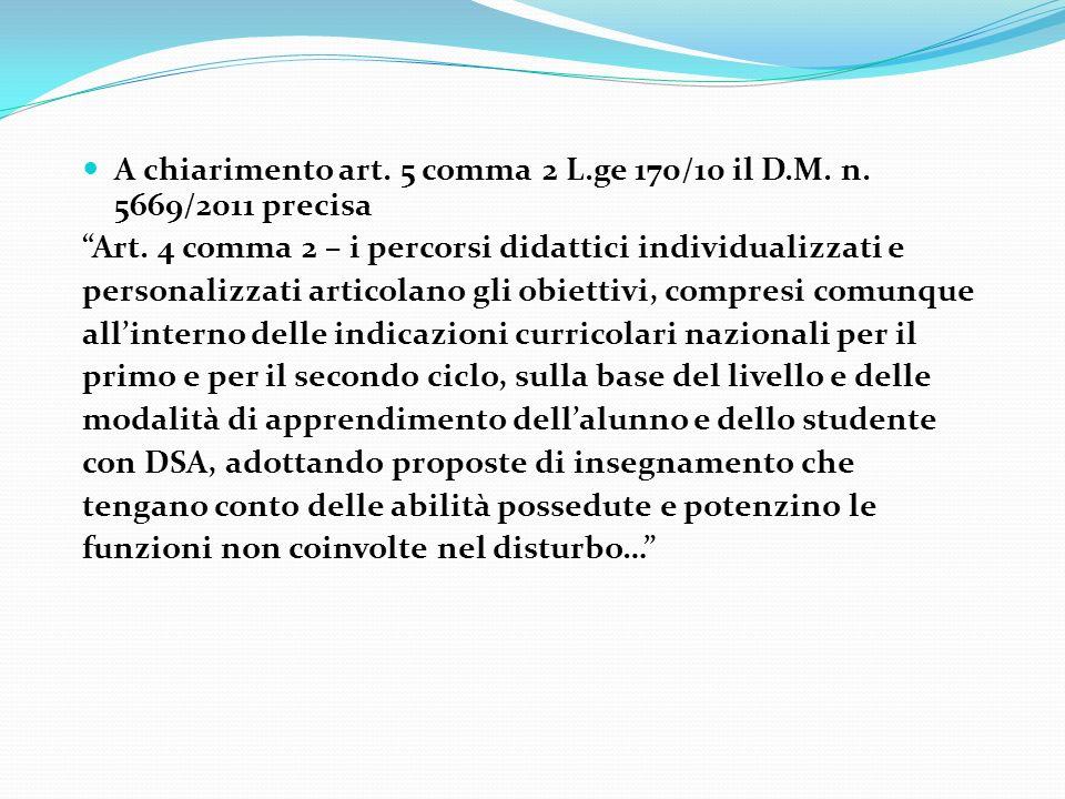 A chiarimento art. 5 comma 2 L.ge 170/10 il D.M. n. 5669/2011 precisa A chiarimento art. 5 comma 2 L.ge 170/10 il D.M. n. 5669/2011 precisa Art. 4 com