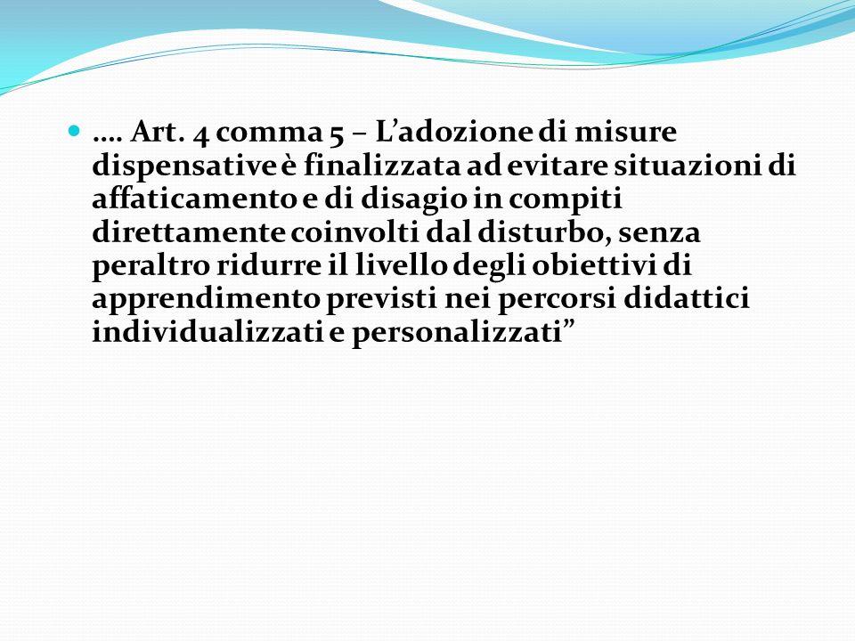 Art. 4 comma 5 – Ladozione di misure dispensative è finalizzata ad evitare situazioni di affaticamento e di disagio in compiti direttamente coinvolti