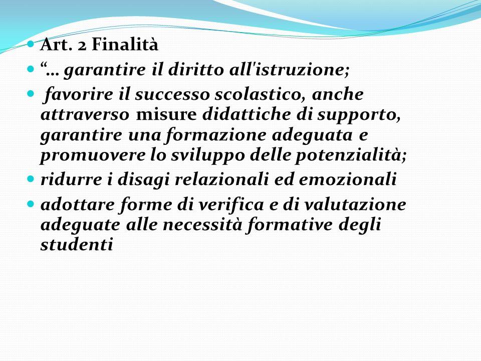 Art. 2 Finalità Art. 2 Finalità … garantire il diritto all'istruzione; … garantire il diritto all'istruzione; favorire il successo scolastico, anche a