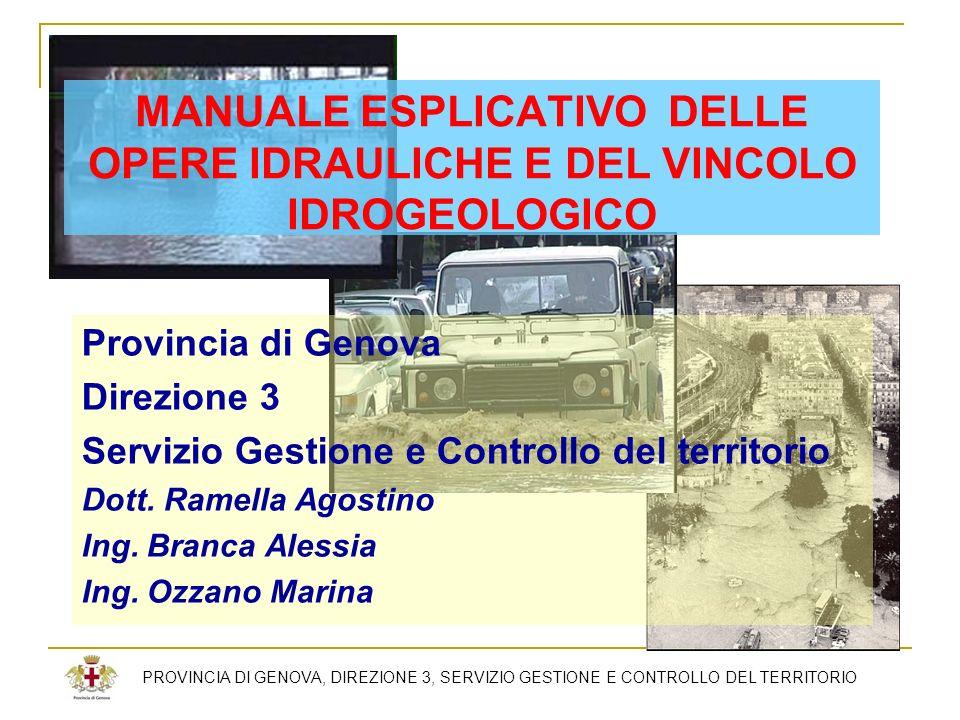 MANUALE ESPLICATIVO DELLE OPERE IDRAULICHE E DEL VINCOLO IDROGEOLOGICO Provincia di Genova Direzione 3 Servizio Gestione e Controllo del territorio Do