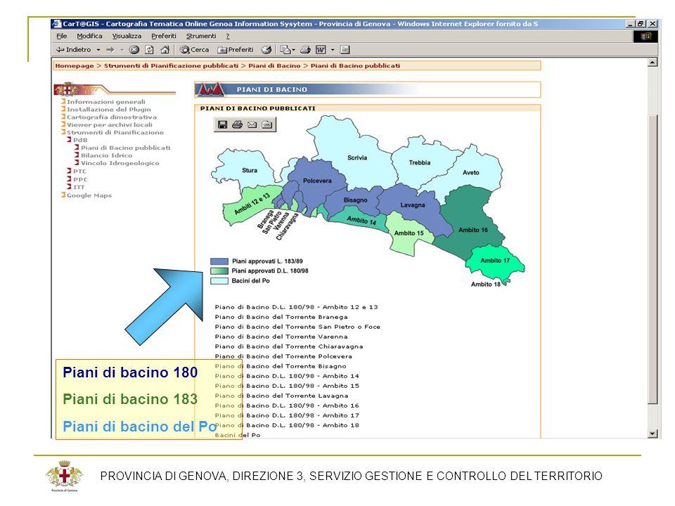 PROVINCIA DI GENOVA, DIREZIONE 3, SERVIZIO GESTIONE E CONTROLLO DEL TERRITORIO Piani di bacino 180 Piani di bacino 183 Piani di bacino del Po