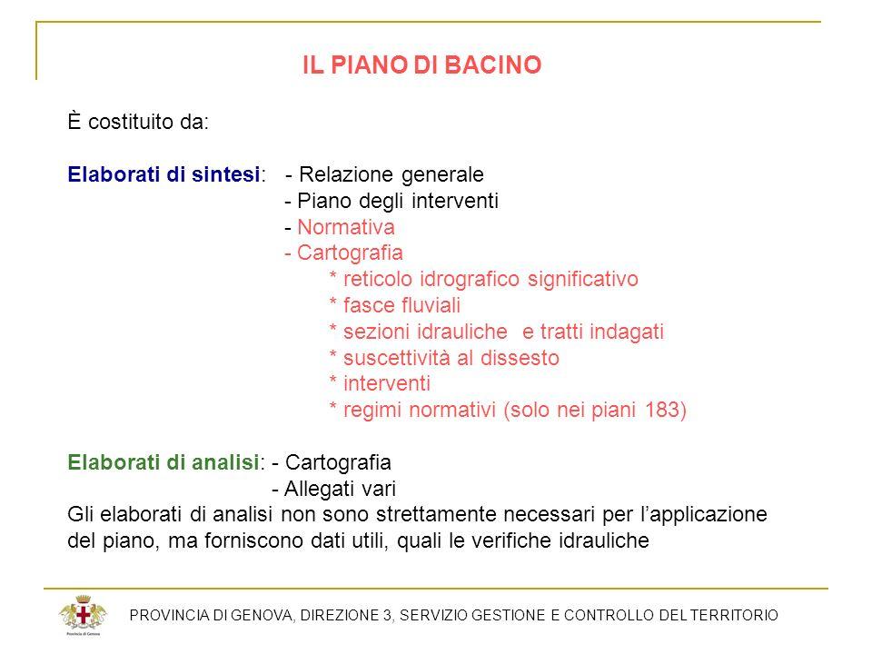 PROVINCIA DI GENOVA, DIREZIONE 3, SERVIZIO GESTIONE E CONTROLLO DEL TERRITORIO IL PIANO DI BACINO È costituito da: Elaborati di sintesi: - Relazione g