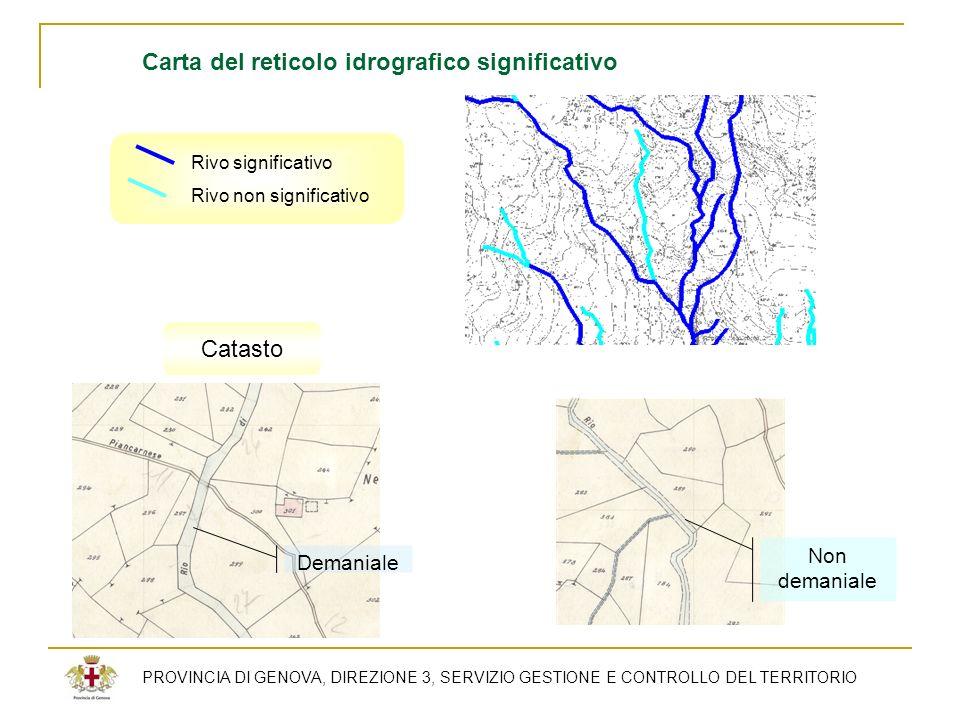 PROVINCIA DI GENOVA, DIREZIONE 3, SERVIZIO GESTIONE E CONTROLLO DEL TERRITORIO Rivo significativo Rivo non significativo Carta del reticolo idrografic