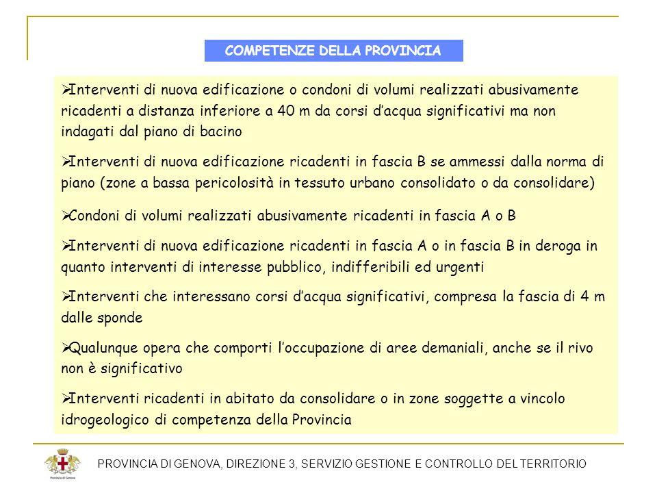 PROVINCIA DI GENOVA, DIREZIONE 3, SERVIZIO GESTIONE E CONTROLLO DEL TERRITORIO Interventi di nuova edificazione o condoni di volumi realizzati abusiva
