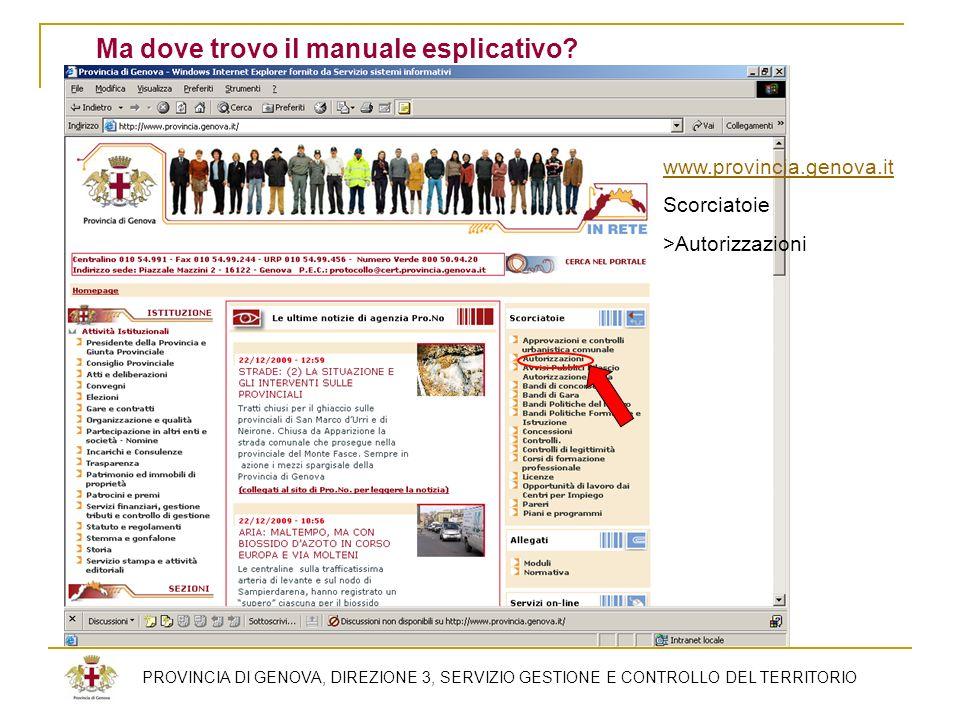 PROVINCIA DI GENOVA, DIREZIONE 3, SERVIZIO GESTIONE E CONTROLLO DEL TERRITORIO Ma dove trovo il manuale esplicativo? www.provincia.genova.it Scorciato