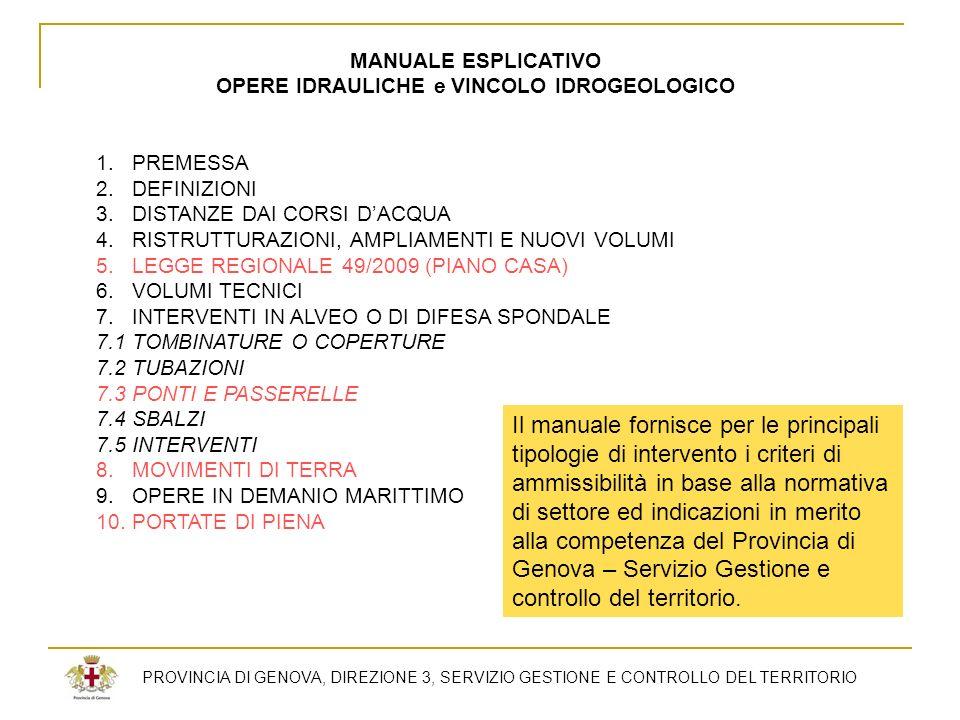 PROVINCIA DI GENOVA, DIREZIONE 3, SERVIZIO GESTIONE E CONTROLLO DEL TERRITORIO MANUALE ESPLICATIVO OPERE IDRAULICHE e VINCOLO IDROGEOLOGICO 1.PREMESSA