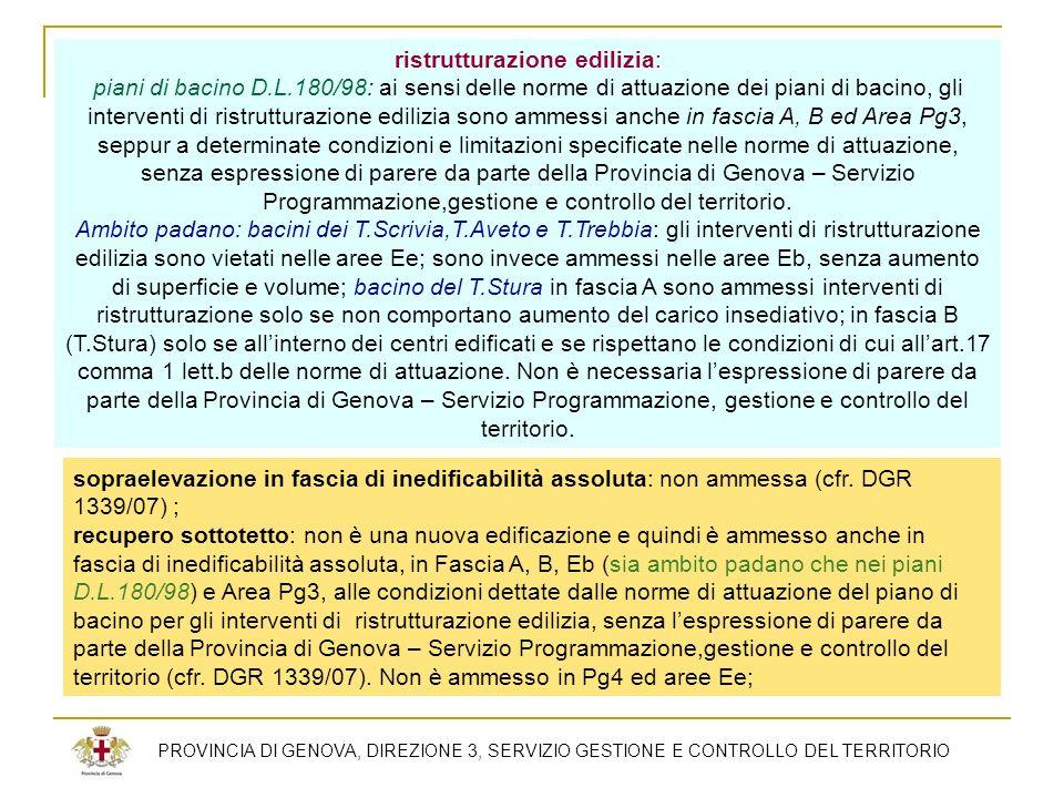 PROVINCIA DI GENOVA, DIREZIONE 3, SERVIZIO GESTIONE E CONTROLLO DEL TERRITORIO ristrutturazione edilizia: piani di bacino D.L.180/98: ai sensi delle n